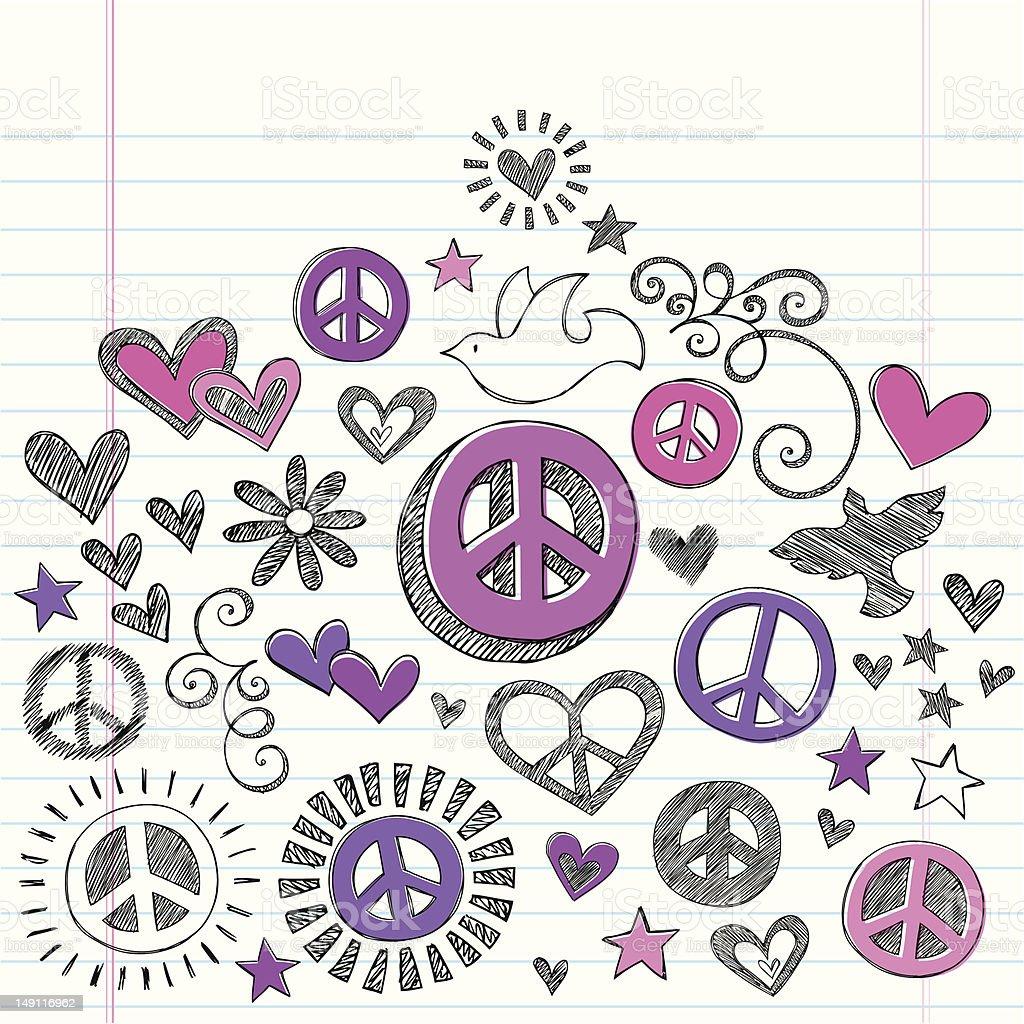 Peace & Love Sketchy Doodles Vector Design Elements royalty-free stock vector art