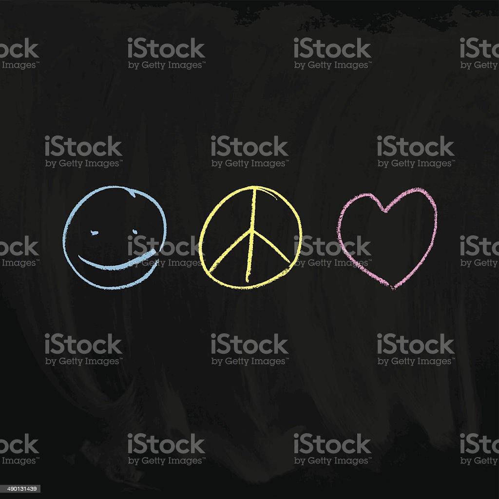 Peace & Love vector art illustration