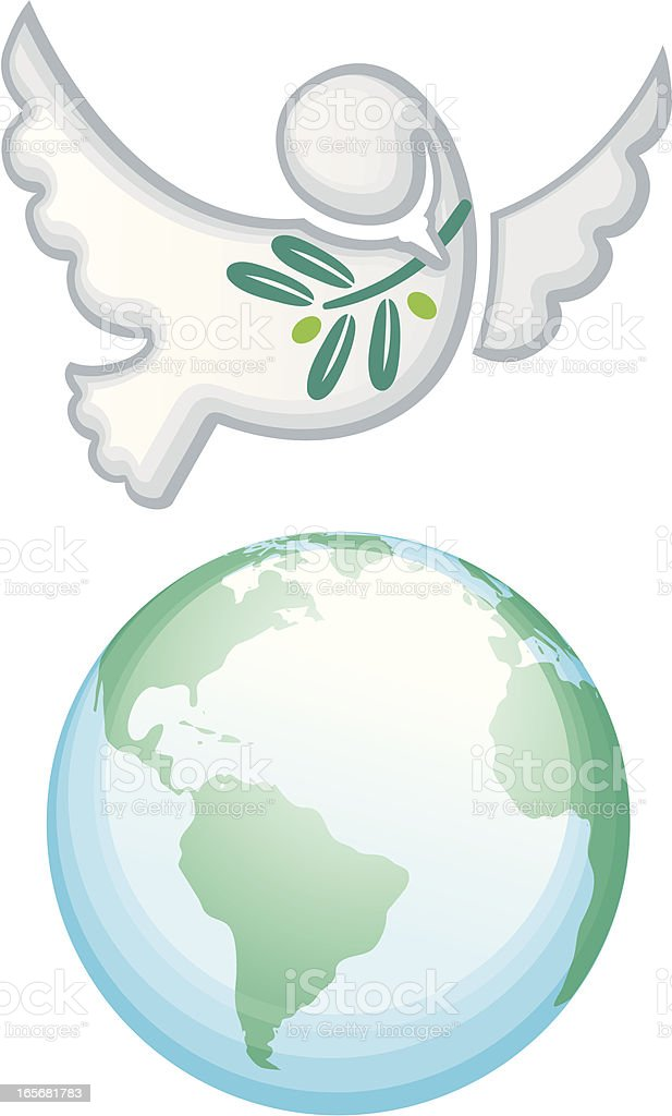 Peace on Earth Dove holding Olive Branch above World Globe royalty-free stock vector art