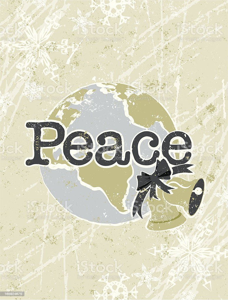 Peace on Earth Text with Globe and Bell royalty-free stock vector art