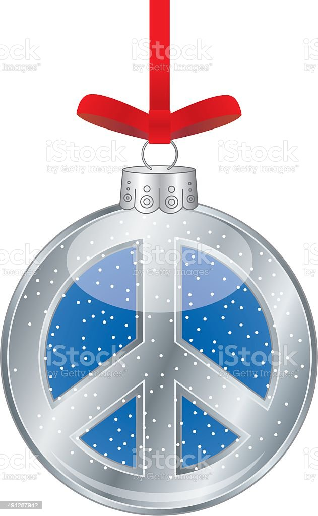Peace Sign Christmas Ornament vector art illustration