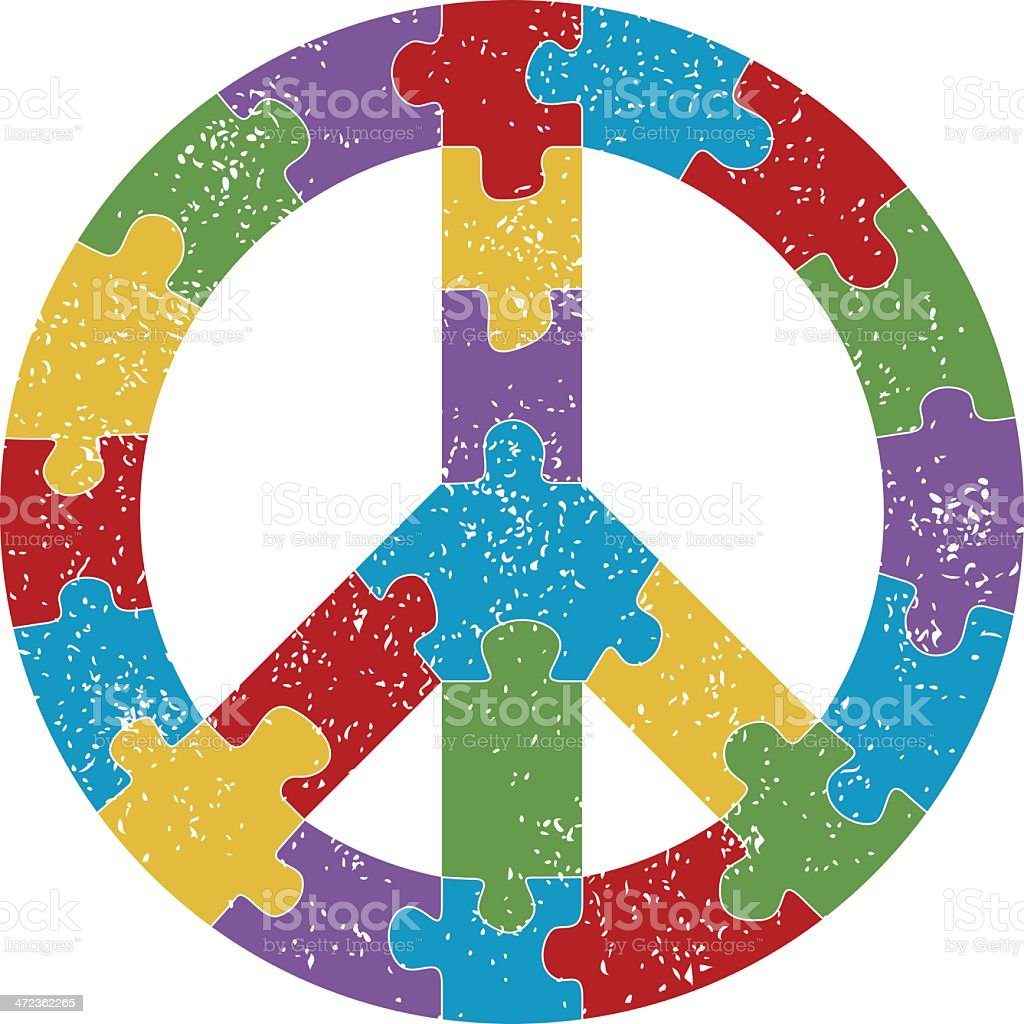 Peace Sign Grunge Puzzle royalty-free stock vector art