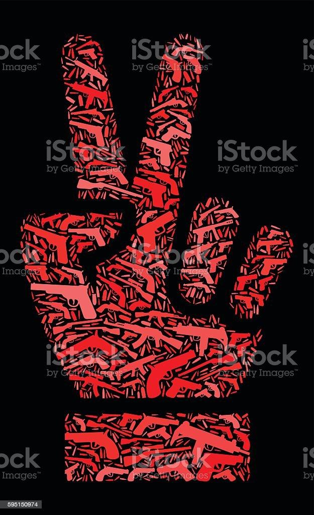 Peace Sign Gun Icon Pattern Background vector art illustration