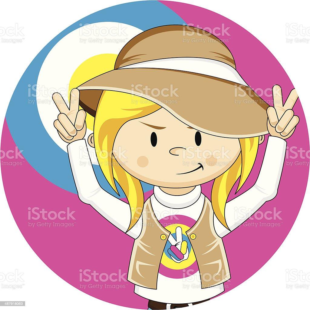 Peace Sign Hippie Girl vector art illustration