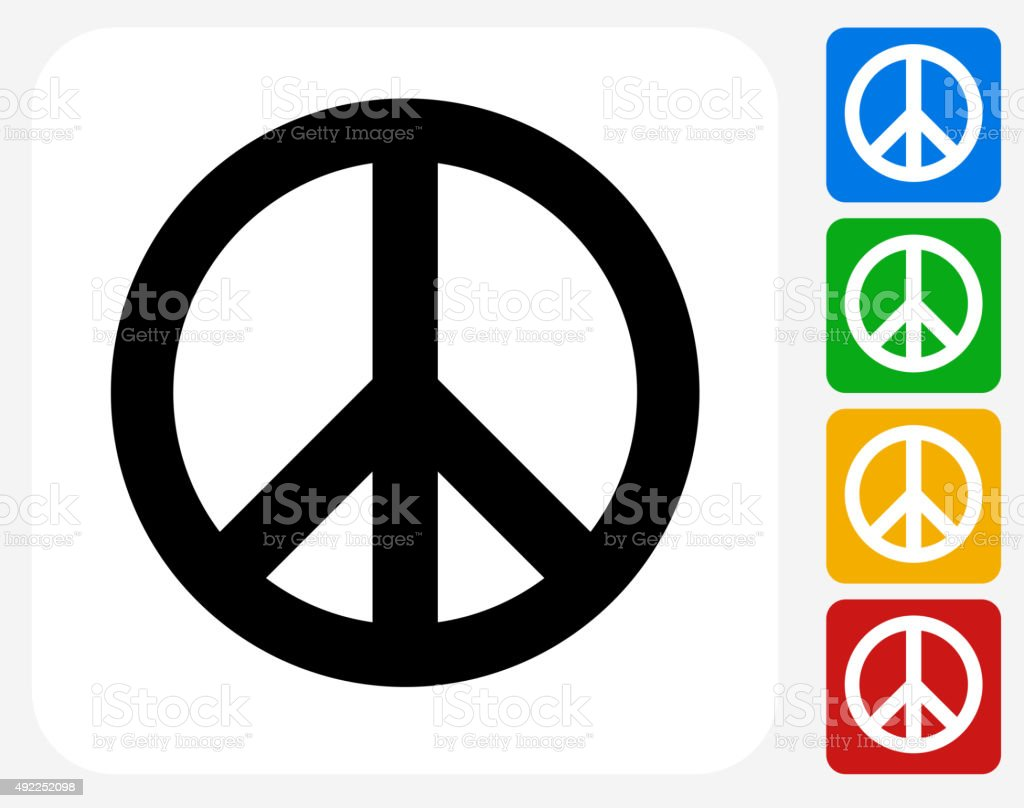 Peace Sign Icon Flat Graphic Design vector art illustration