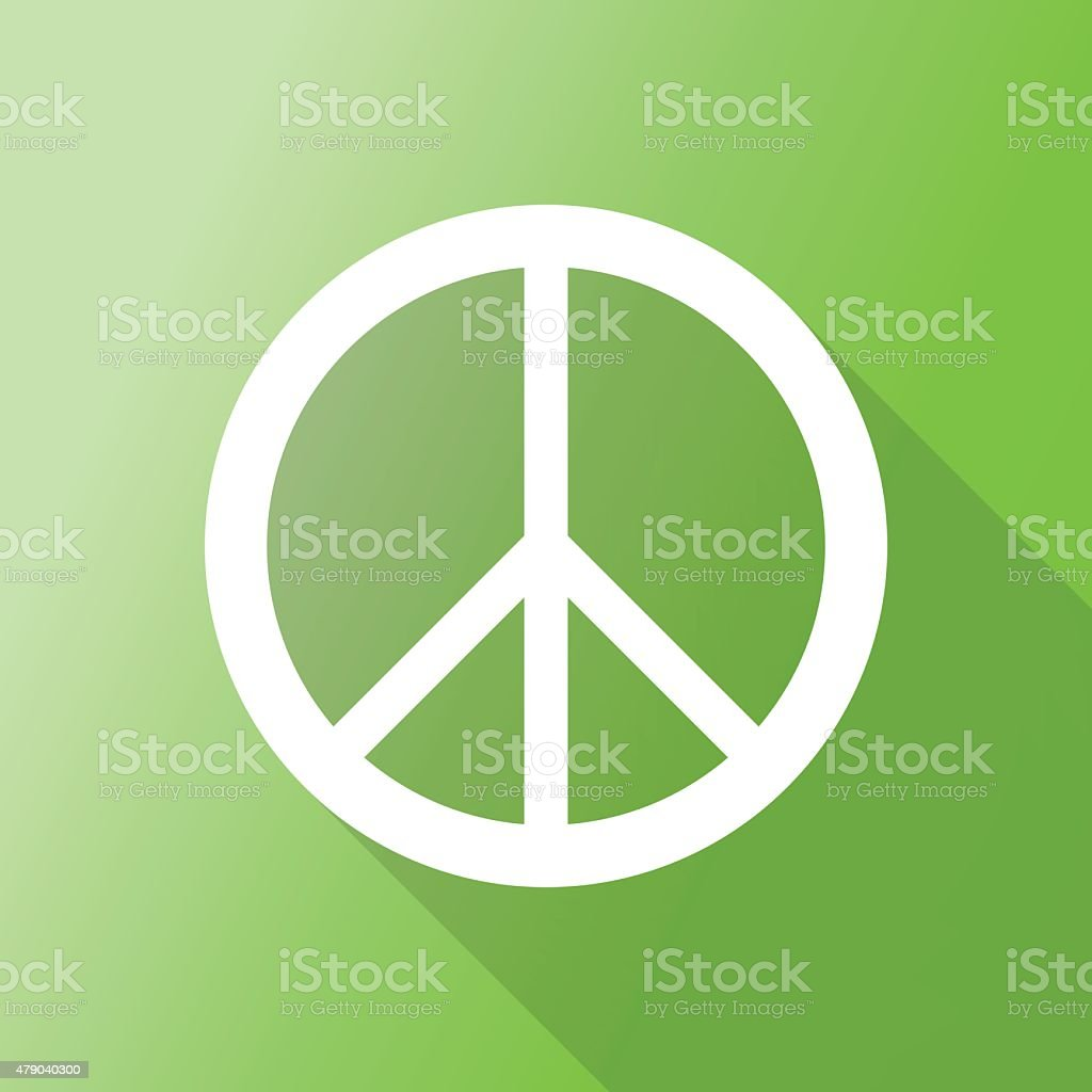 peace sign icon with long shadow. vector art illustration