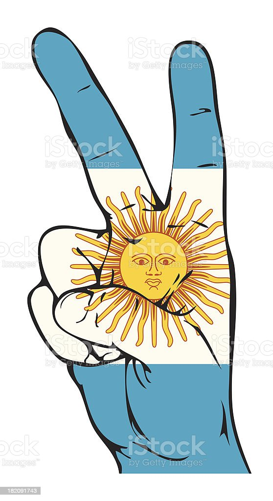 Peace Sign of the Argentinean flag royalty-free stock vector art