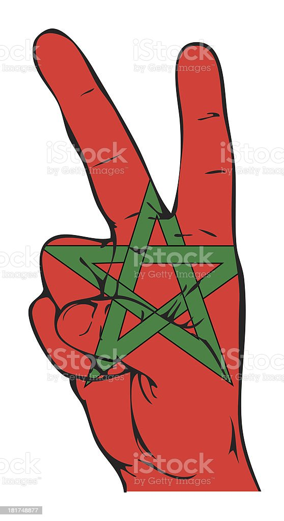 Peace Sign of the Moroccan flag royalty-free stock vector art
