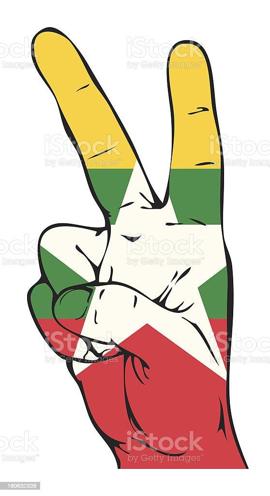 Peace Sign of the Myanmar flag vector art illustration