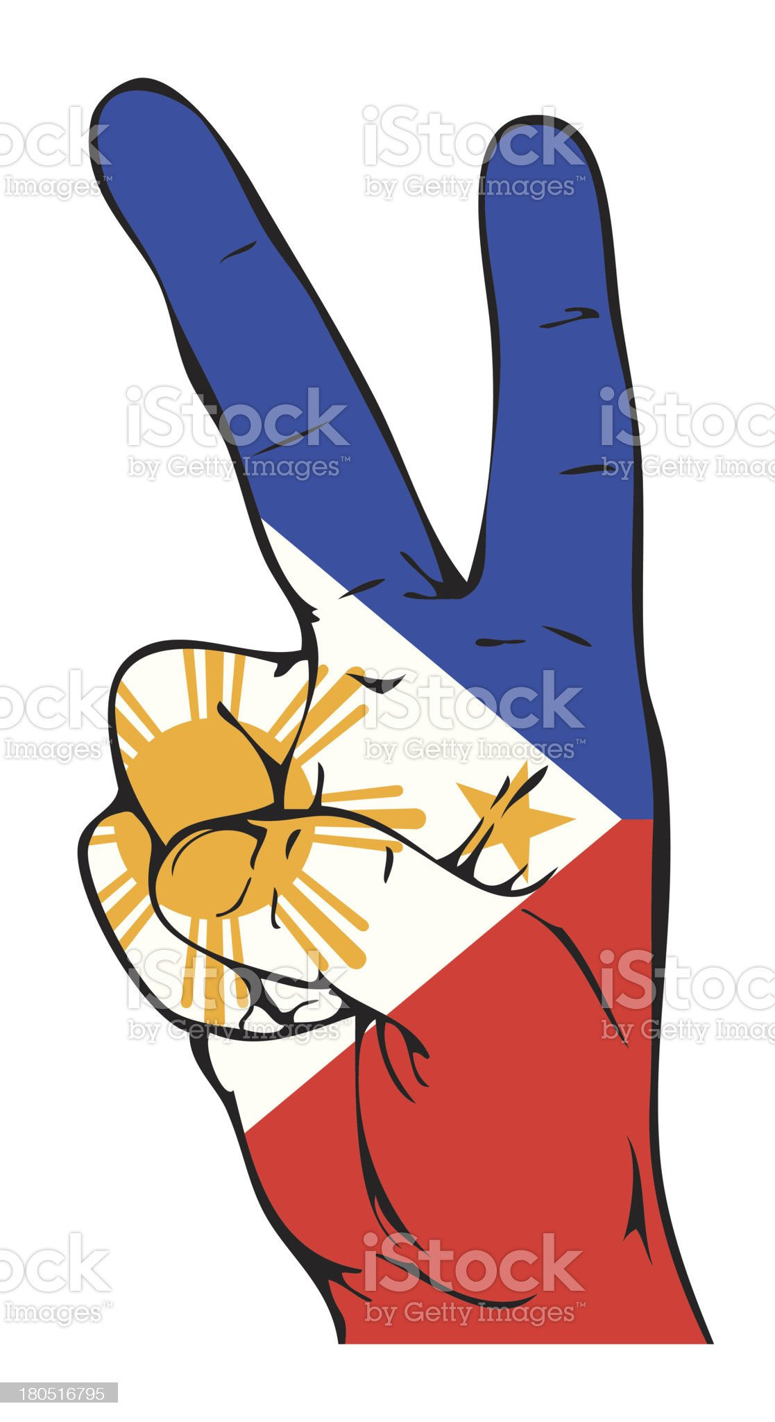 Peace Sign of the Philippine flag royalty-free stock vector art