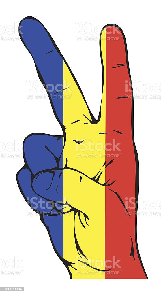 Peace Sign of the Romanian flag royalty-free stock vector art