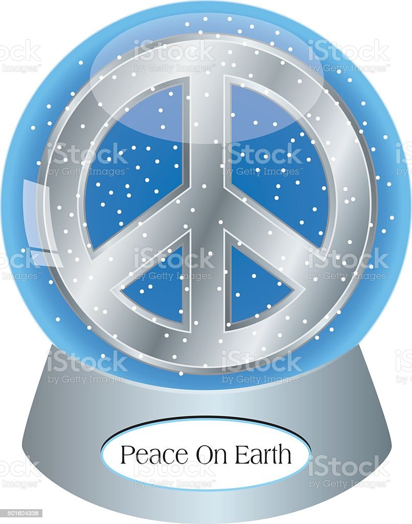 Peace Sign Snow Globe vector art illustration