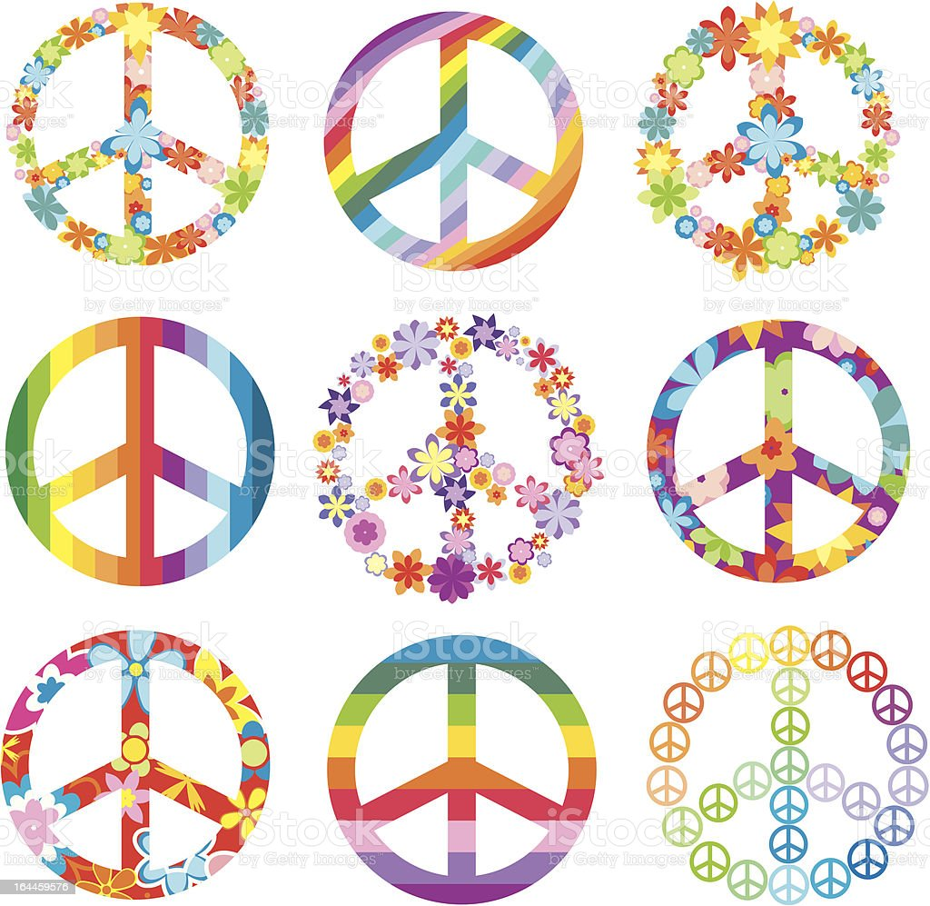 Peace signs in flora and rainbow designs vector art illustration