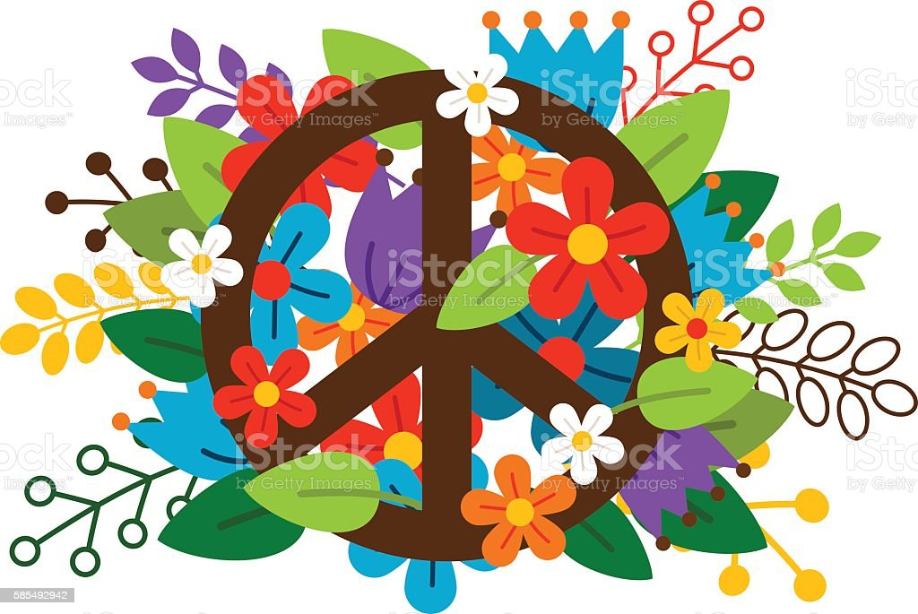 Peace symbol with flowers vector art illustration