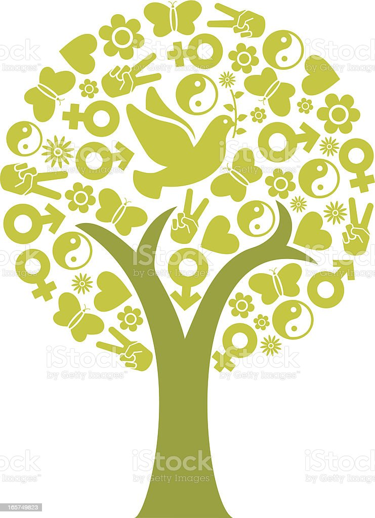 Peace tree shape concept royalty-free stock vector art