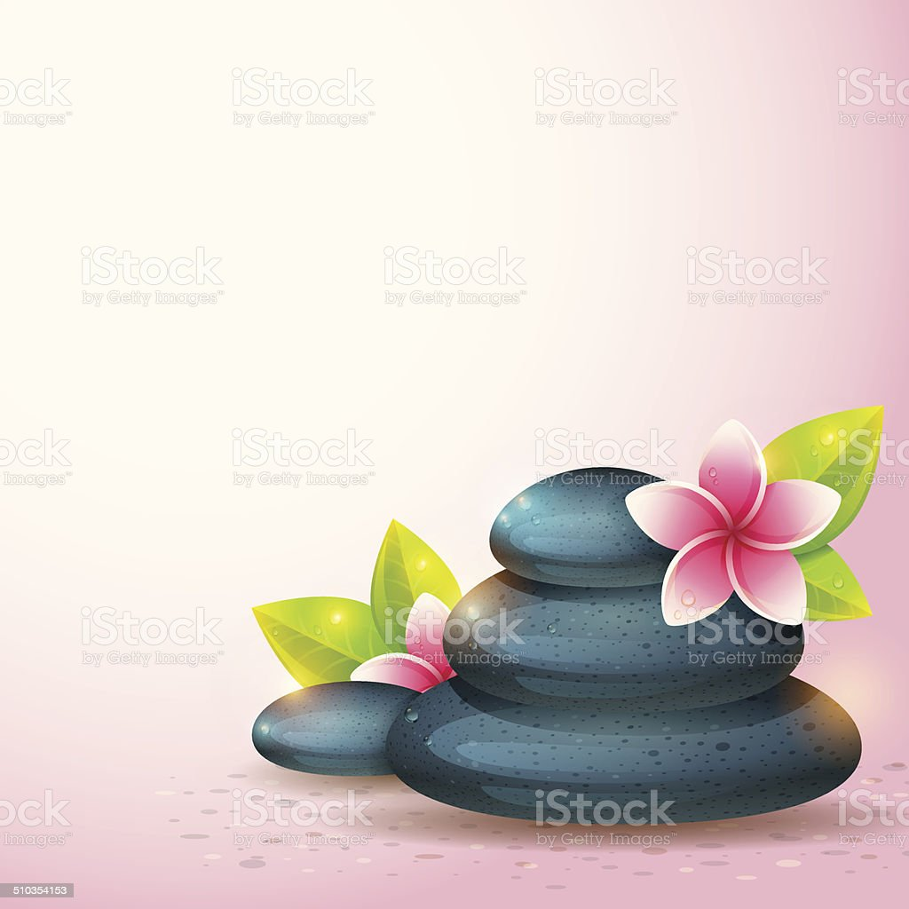 Peaceful and relaxing card with spa items isolated royalty-free stock  vector art .