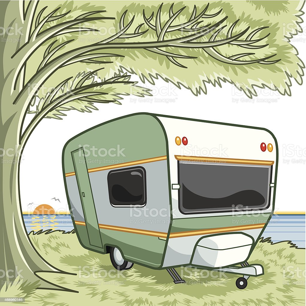 peaceful landscape and sweet home vector art illustration