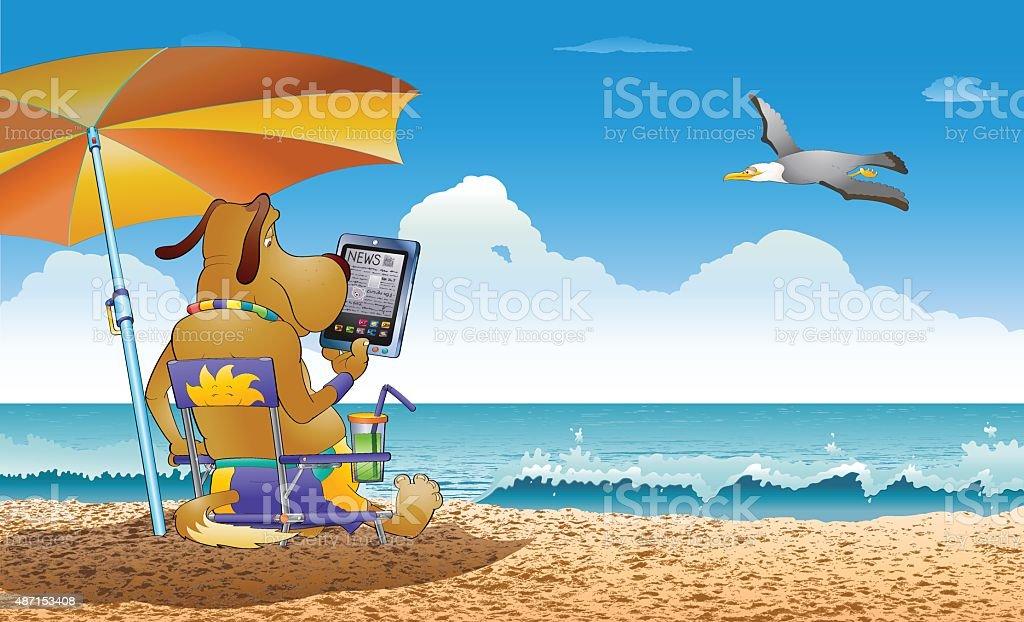 Peaceful reading day vector art illustration