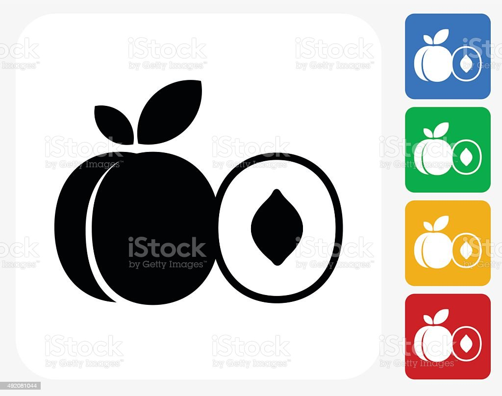 Peach and Half of Peach Icon Flat Graphic Design vector art illustration