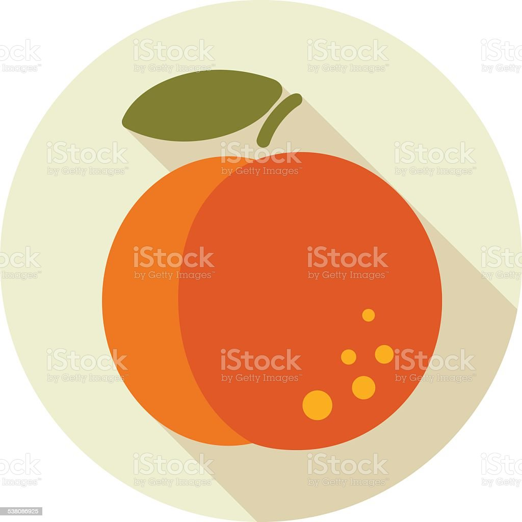 Peach flat icon with long shadow vector art illustration