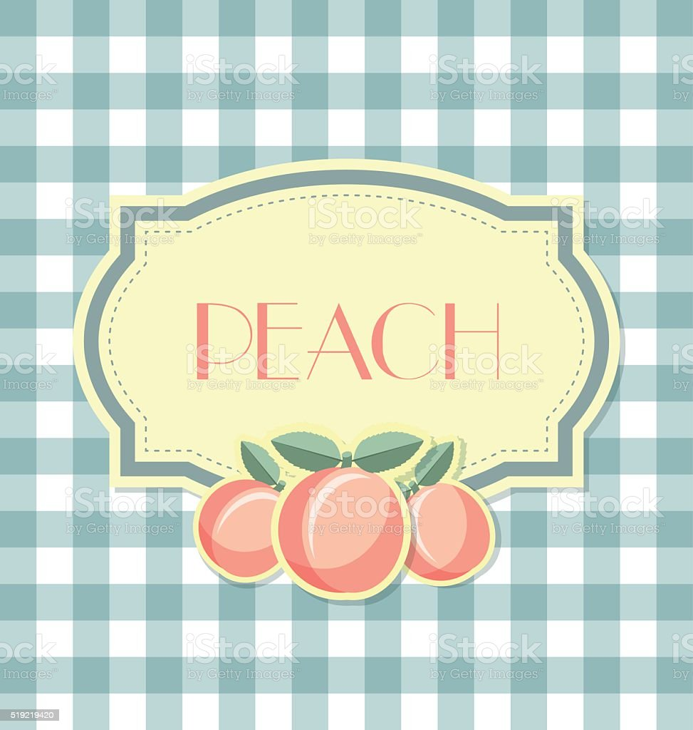 Peach label in retro style on squared background vector art illustration
