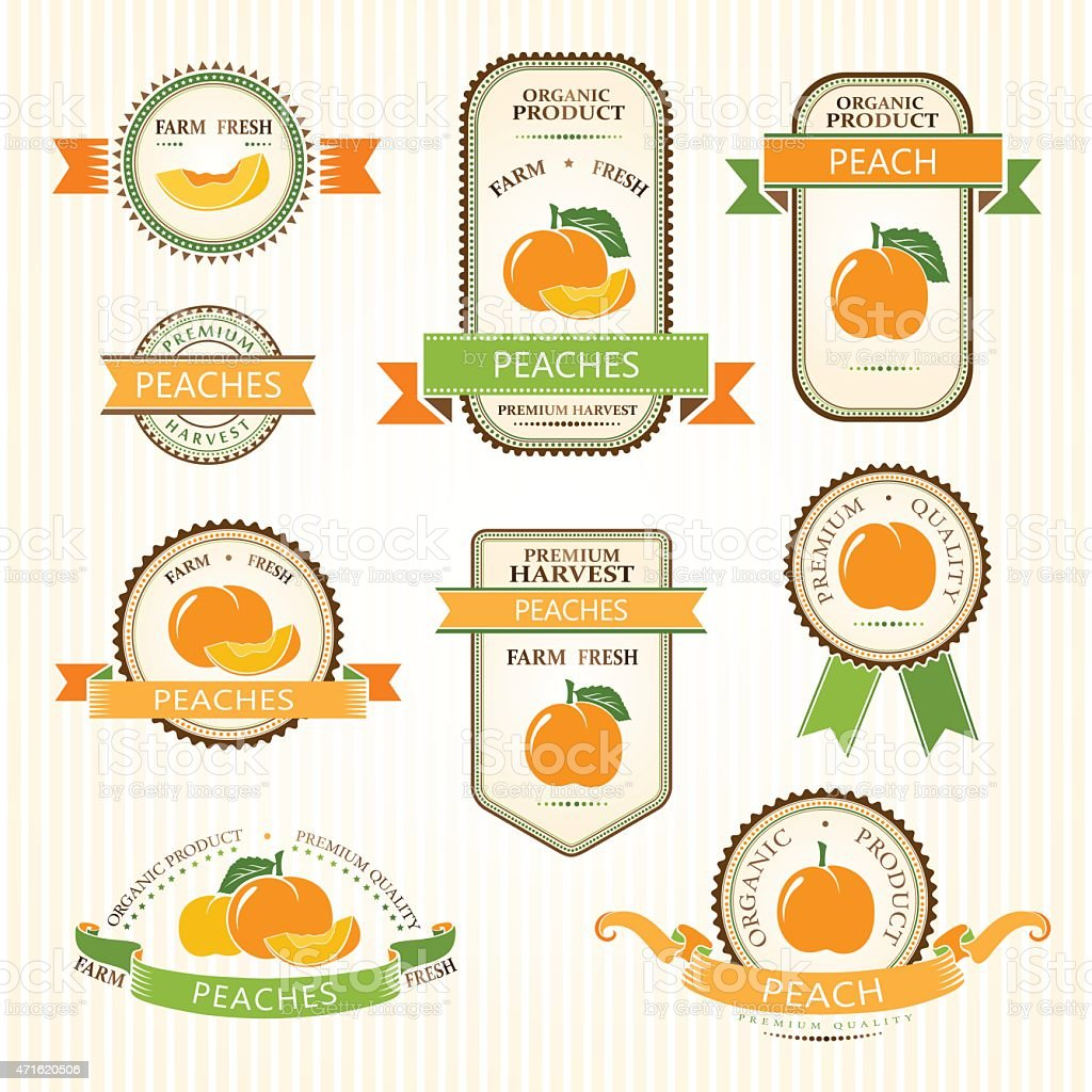 Peach labels collection vector art illustration