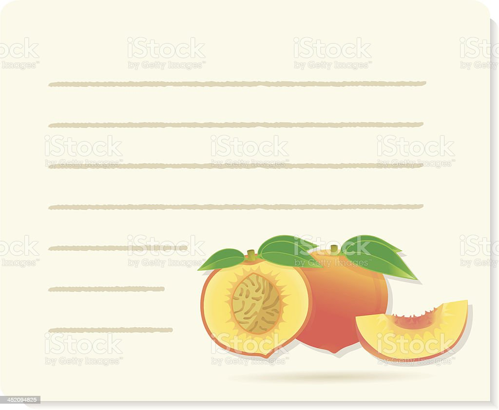 peach recipepaper with piece and leafs. royalty-free stock vector art