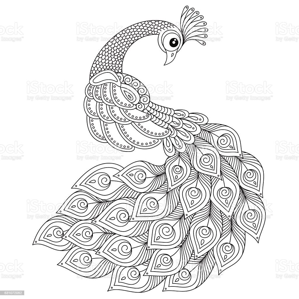 Peacock adult antistress coloring page stock vector art for Adult coloring pages peacock
