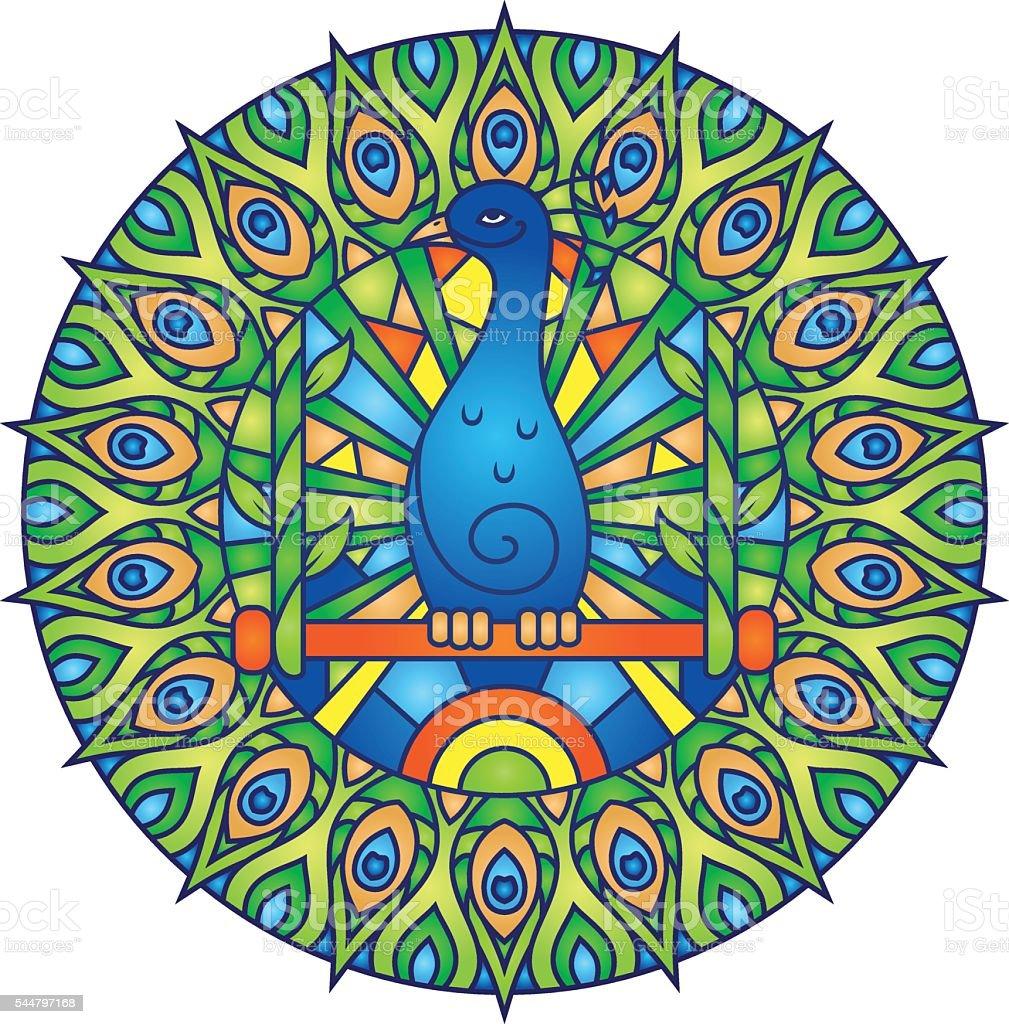 Peacock Colorful Round Mandala Ornament vector art illustration