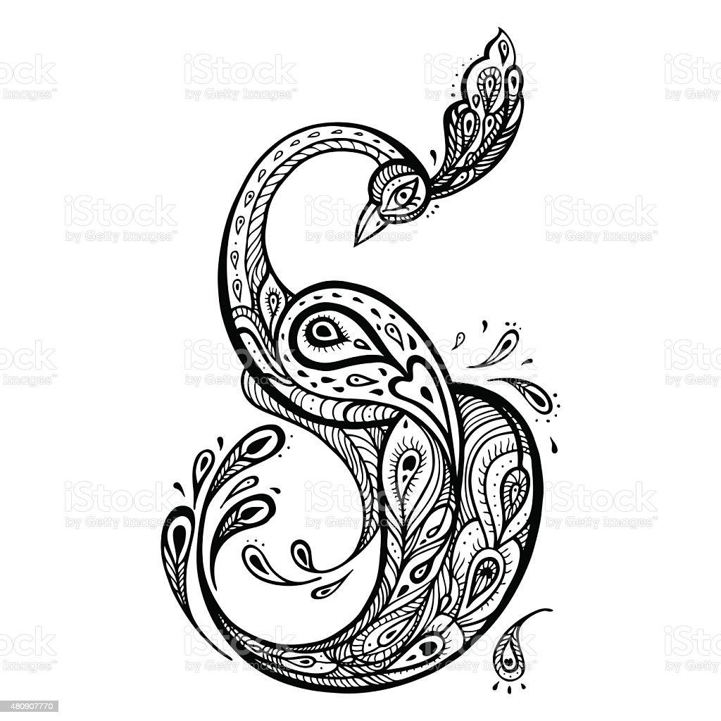 Peacock. Decorative Vector illustration vector art illustration
