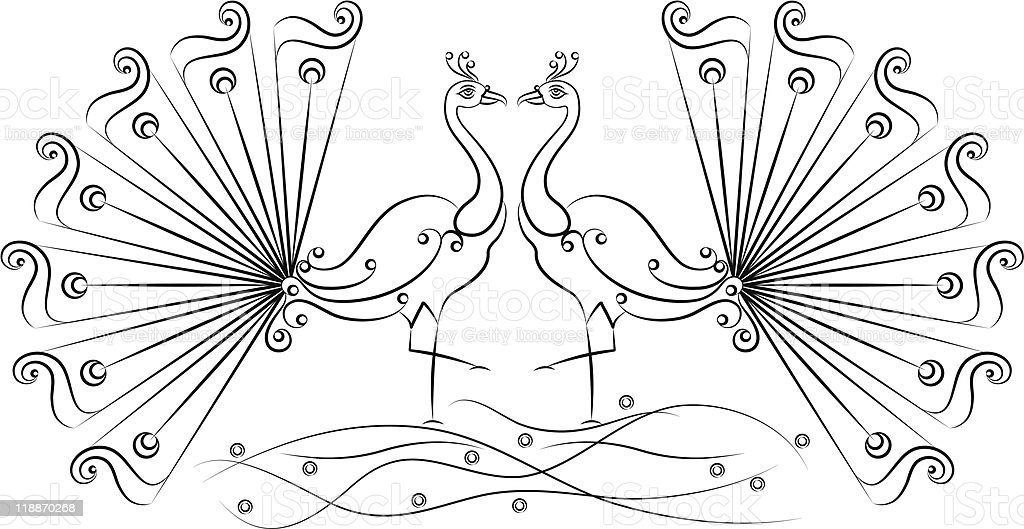 Peacock pair royalty-free stock vector art