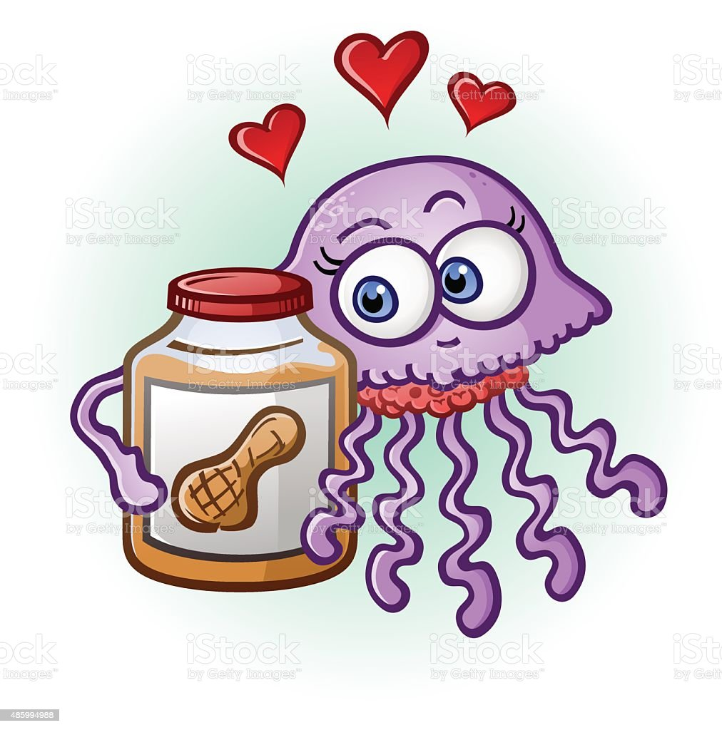 Peanut Butter and Jelly Fish Cartoon Character vector art illustration