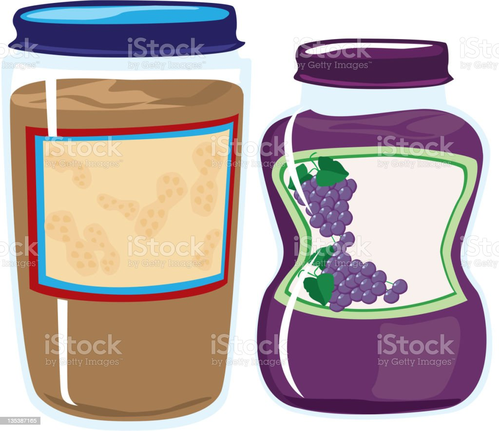 Peanut Butter and Jelly or Jam vector art illustration