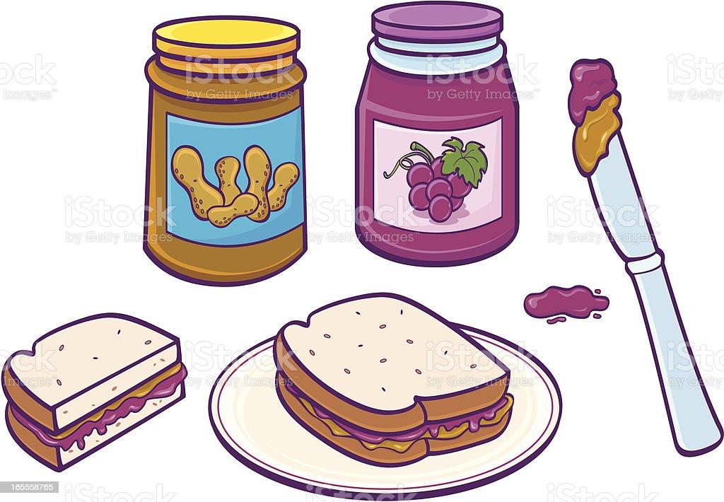 Peanut Butter & Jelly Sandwich vector art illustration
