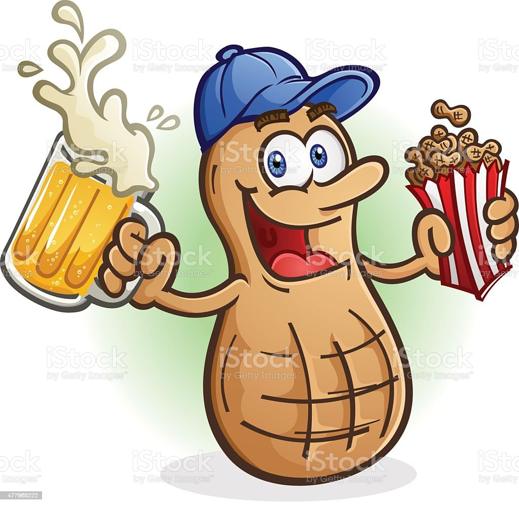 Peanut Cartoon Character Drinking Cold Delicious Beer vector art illustration