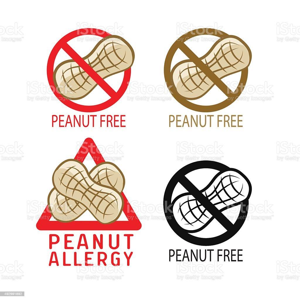 Peanut free symbol. Vector illustrations icon set. vector art illustration