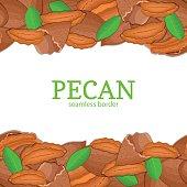 Peanut nut Horizontal seamless border. Vector illustration card top and