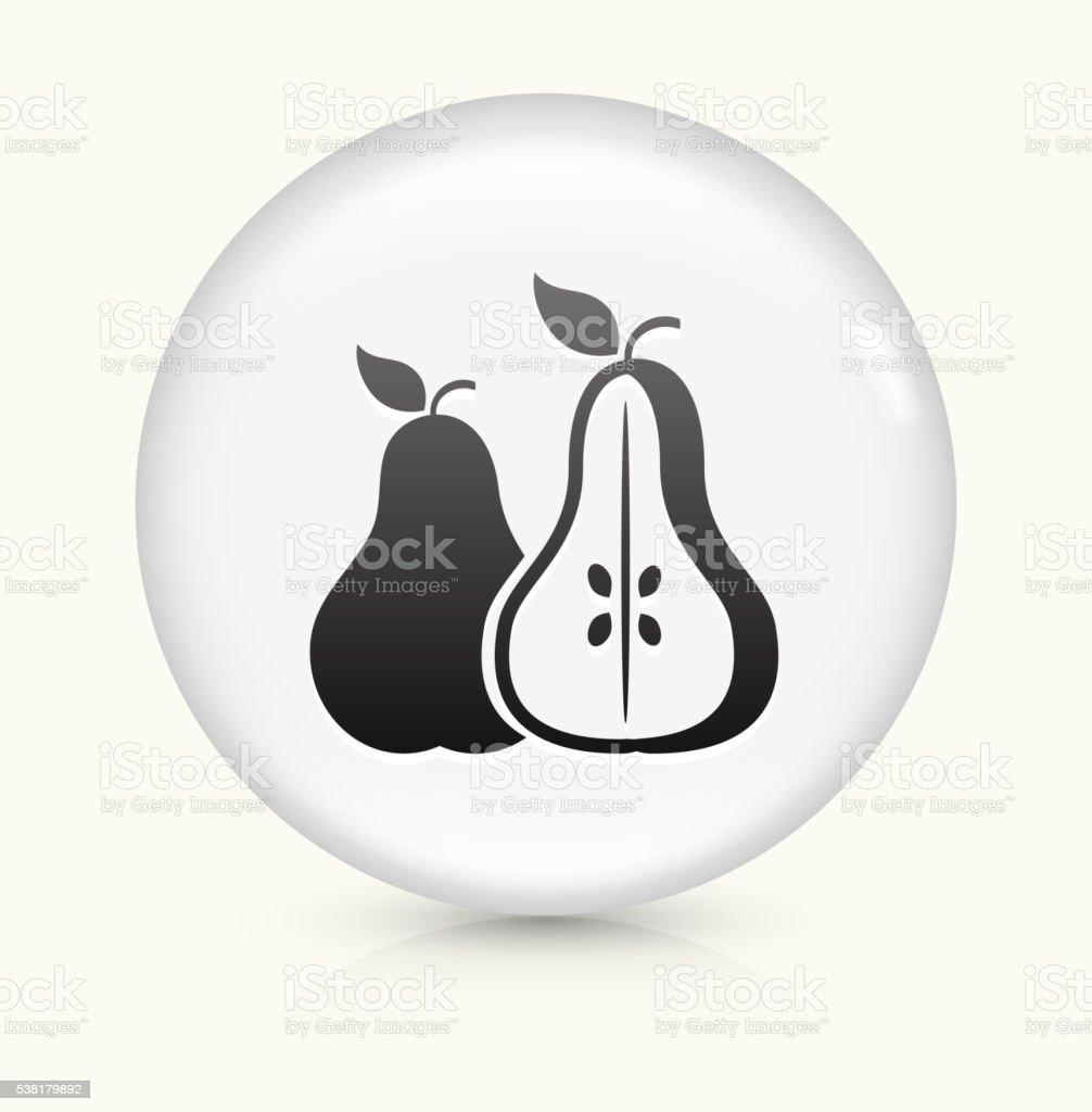 Pear and Half Pear icon on white round vector button vector art illustration