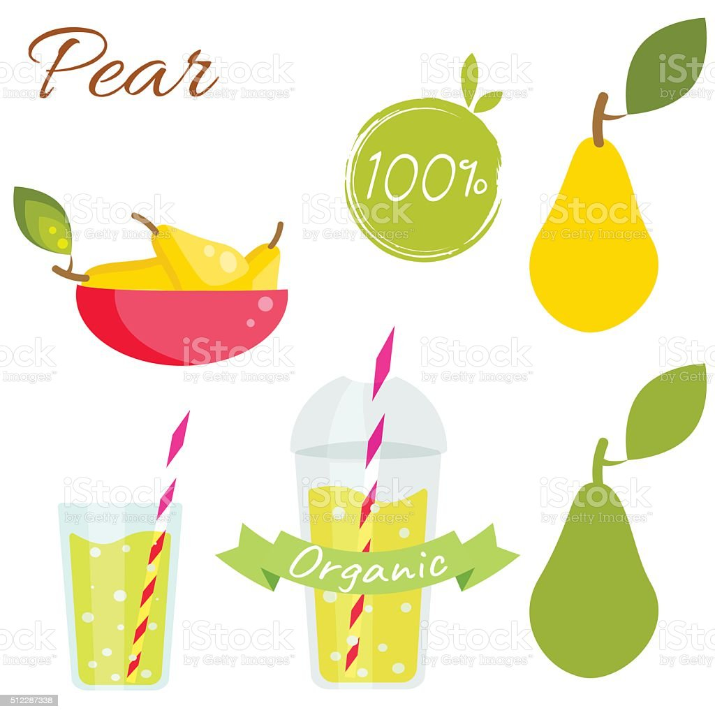 Pear fruit and juice vector set vector art illustration