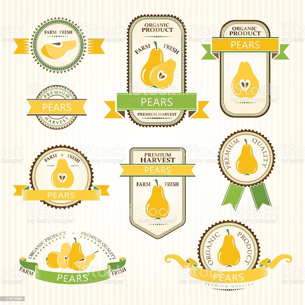 Pear labels collection vector art illustration