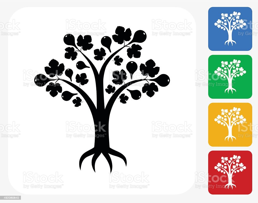 Pear or Fig  Tree Icon Flat Graphic Design vector art illustration
