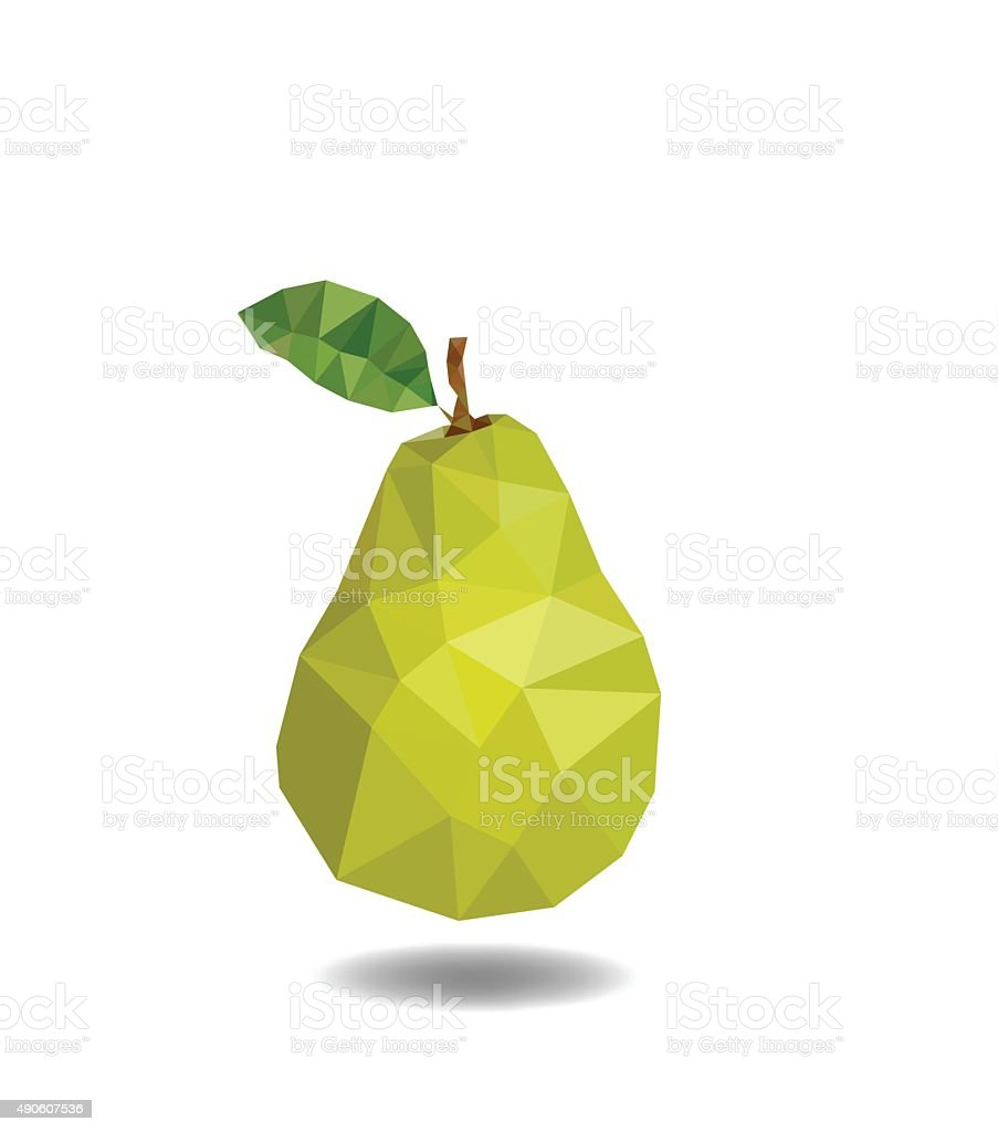 Pear polygonal. Pear abstract isolated on a white backgrounds vector art illustration