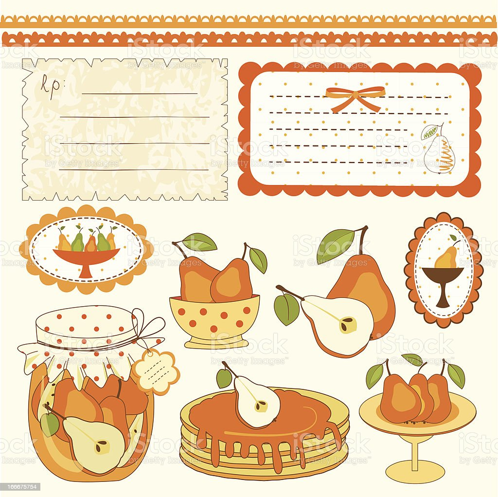 Pear scrapbook design elements royalty-free stock vector art
