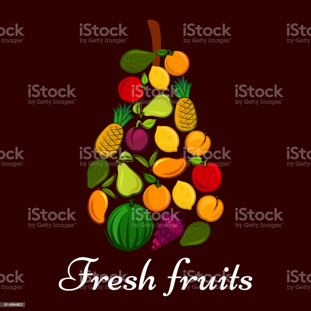 Pear symbol made up of fresh fruits vector art illustration