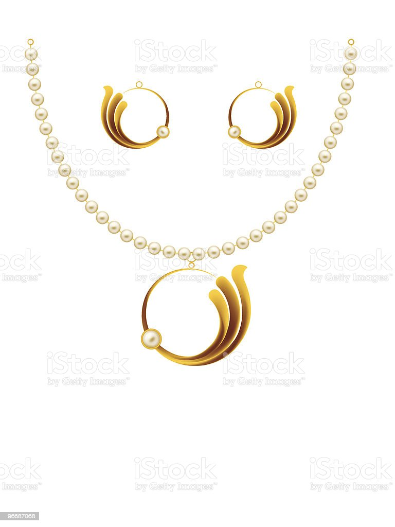 Pearl Gold Jewellery royalty-free stock vector art