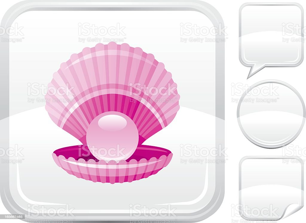 Pearl icon on silver button royalty-free stock vector art