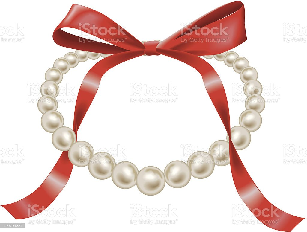 Pearl Necklace Bow C royalty-free stock vector art