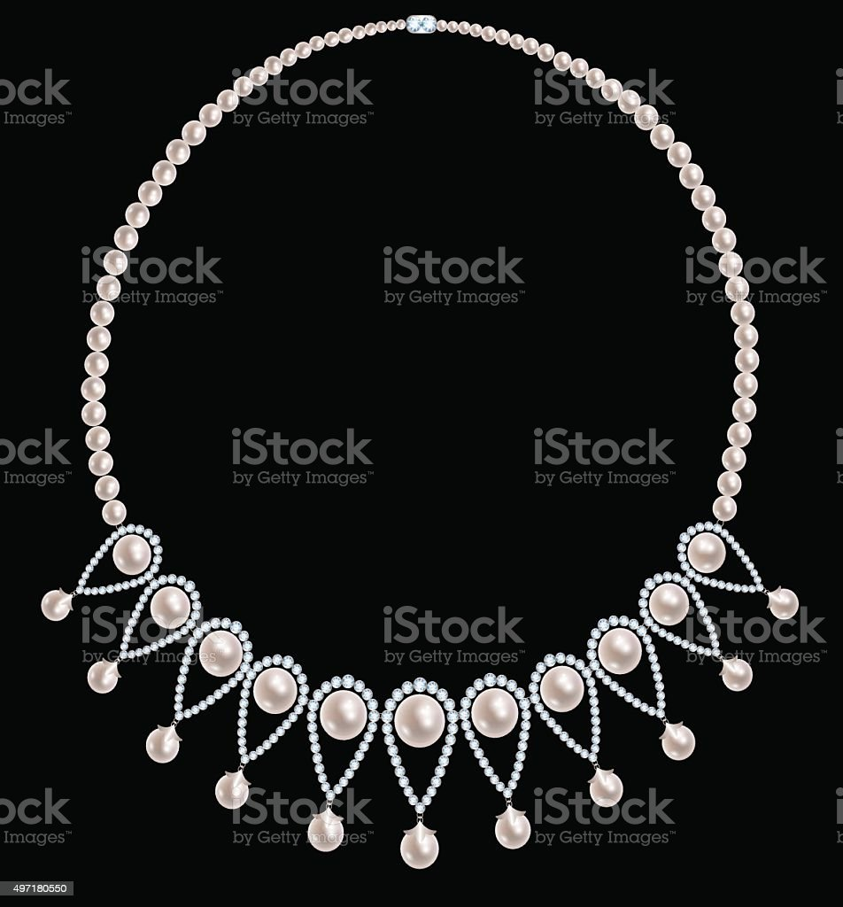 Pearl necklace with diamonds vector art illustration