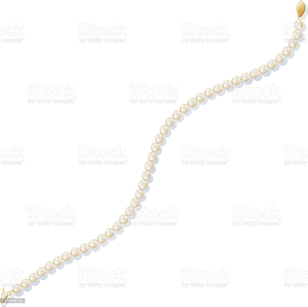 Pearl necklace with gold clasp vector art illustration