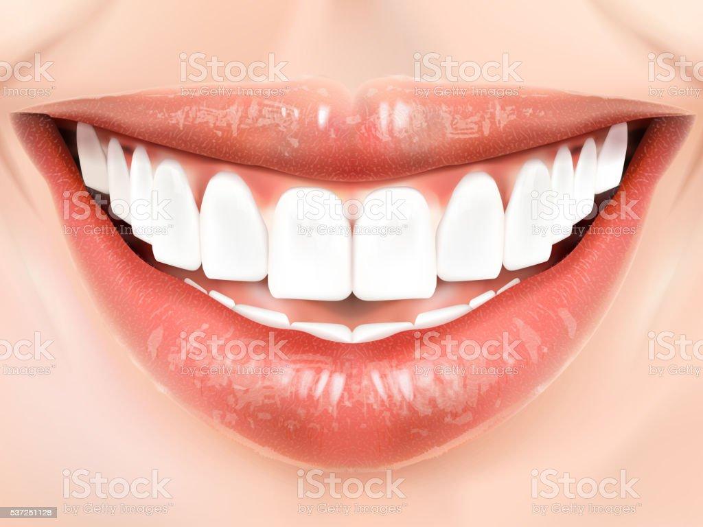 Pearl white teeth vector art illustration